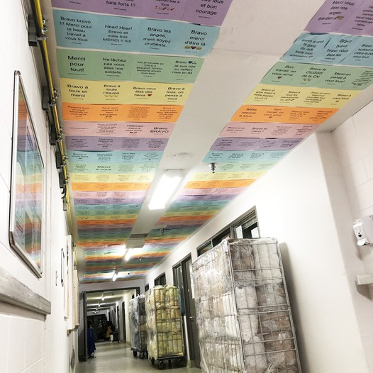 Paper on the ceiling like a rainbow